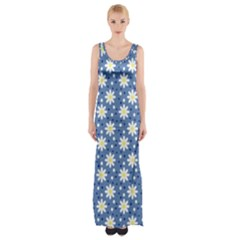 Daisy Dots Blue Maxi Thigh Split Dress