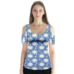 Daisy Dots Blue Butterfly Sleeve Cutout Tee