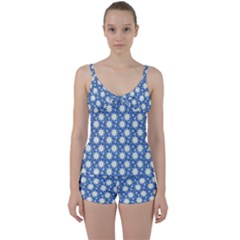 Daisy Dots Blue Tie Front Two Piece Tankini