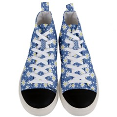 Daisy Dots Blue Men s Mid Top Canvas Sneakers