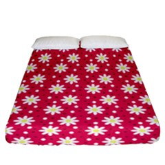 Daisy Dots Light Red Fitted Sheet (california King Size)