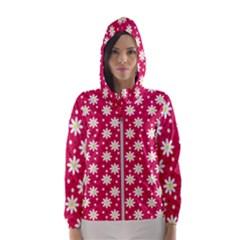 Daisy Dots Light Red Hooded Wind Breaker (women)