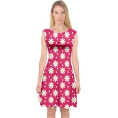 Daisy Dots Light Red Capsleeve Midi Dress