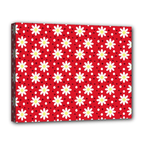 Daisy Dots Red Canvas 14  X 11