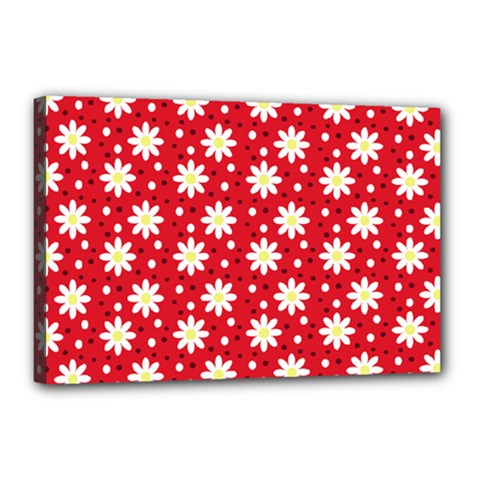Daisy Dots Red Canvas 18  X 12