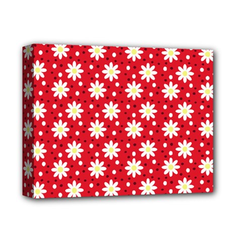 Daisy Dots Red Deluxe Canvas 14  X 11