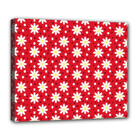 Daisy Dots Red Deluxe Canvas 24  X 20