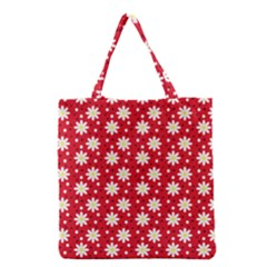 Daisy Dots Red Grocery Tote Bag