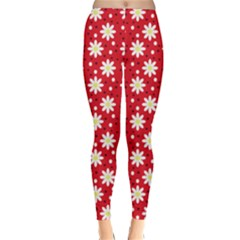 Daisy Dots Red Classic Winter Leggings
