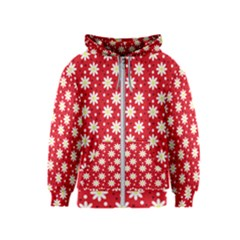 Daisy Dots Red Kids  Zipper Hoodie