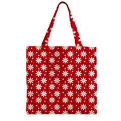 Daisy Dots Red Zipper Grocery Tote Bag