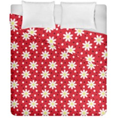 Daisy Dots Red Duvet Cover Double Side (california King Size)