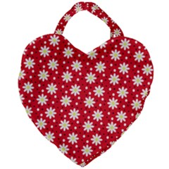 Daisy Dots Red Giant Heart Shaped Tote