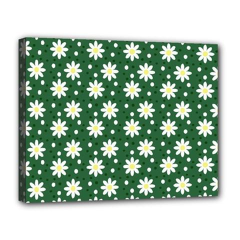 Daisy Dots Green Canvas 14  X 11