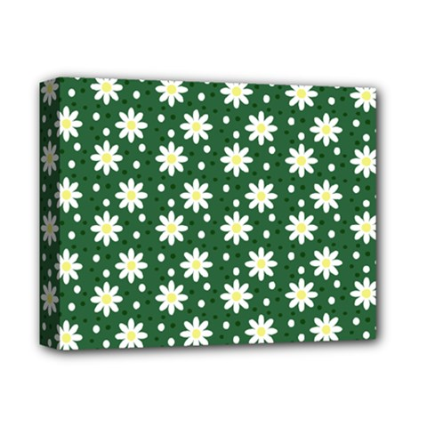 Daisy Dots Green Deluxe Canvas 14  X 11