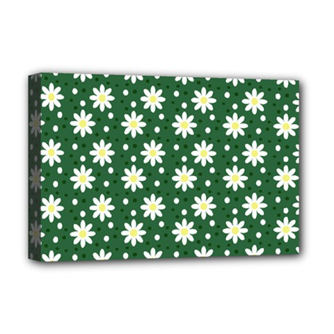 Daisy Dots Green Deluxe Canvas 18  X 12