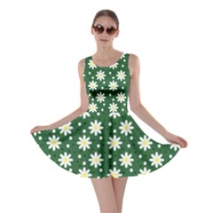 Daisy Dots Green Skater Dress