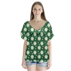 Daisy Dots Green V Neck Flutter Sleeve Top