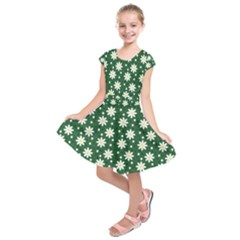 Daisy Dots Green Kids  Short Sleeve Dress