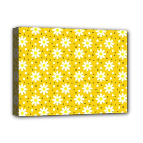 Daisy Dots Yellow Deluxe Canvas 16  X 12