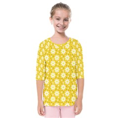 Daisy Dots Yellow Kids  Quarter Sleeve Raglan Tee
