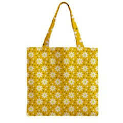 Daisy Dots Yellow Zipper Grocery Tote Bag