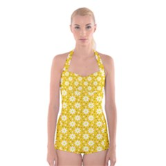 Daisy Dots Yellow Boyleg Halter Swimsuit