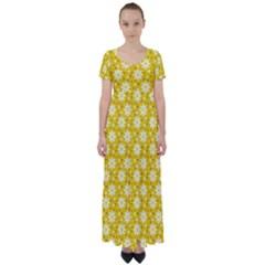 Daisy Dots Yellow High Waist Short Sleeve Maxi Dress