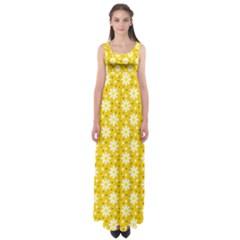 Daisy Dots Yellow Empire Waist Maxi Dress