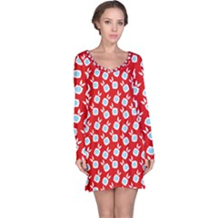 Square Flowers Red Long Sleeve Nightdress