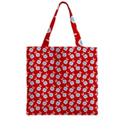 Square Flowers Red Zipper Grocery Tote Bag