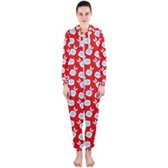 Square Flowers Red Hooded Jumpsuit (ladies)