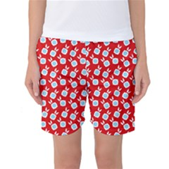 Square Flowers Red Women s Basketball Shorts