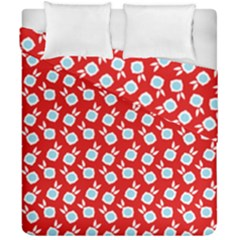 Square Flowers Red Duvet Cover Double Side (california King Size)