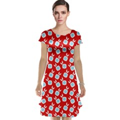 Square Flowers Red Cap Sleeve Nightdress