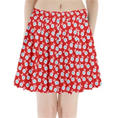 Square Flowers Red Pleated Mini Skirt