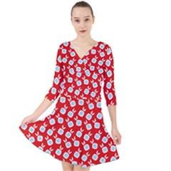 Square Flowers Red Quarter Sleeve Front Wrap Dress