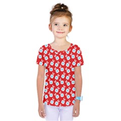 Square Flowers Red Kids  One Piece Tee
