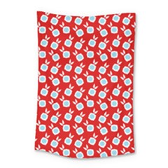 Square Flowers Red Small Tapestry