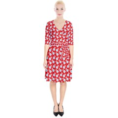 Square Flowers Red Wrap Up Cocktail Dress