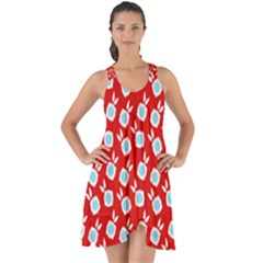 Square Flowers Red Show Some Back Chiffon Dress