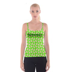 Square Flowers Green Spaghetti Strap Top