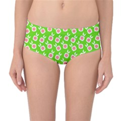 Square Flowers Green Mid Waist Bikini Bottoms