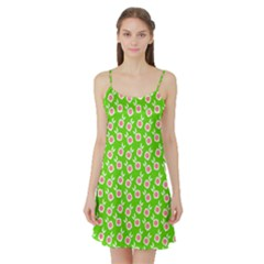 Square Flowers Green Satin Night Slip