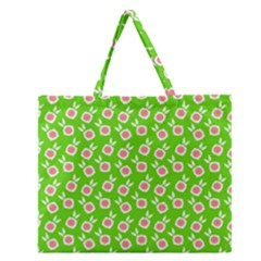 Square Flowers Green Zipper Large Tote Bag