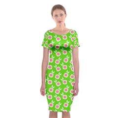 Square Flowers Green Classic Short Sleeve Midi Dress