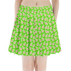 Square Flowers Green Pleated Mini Skirt