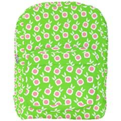 Square Flowers Green Full Print Backpack