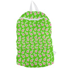 Square Flowers Green Foldable Lightweight Backpack