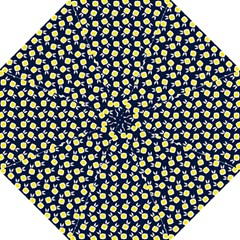 Square Flowers Navy Blue Straight Umbrellas